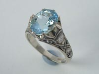 Celtic Crown Ring Aquamarine