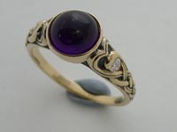 Heart Knot Ring Cabochon Amethyst
