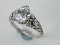 Heart Knot Ring White Topaz